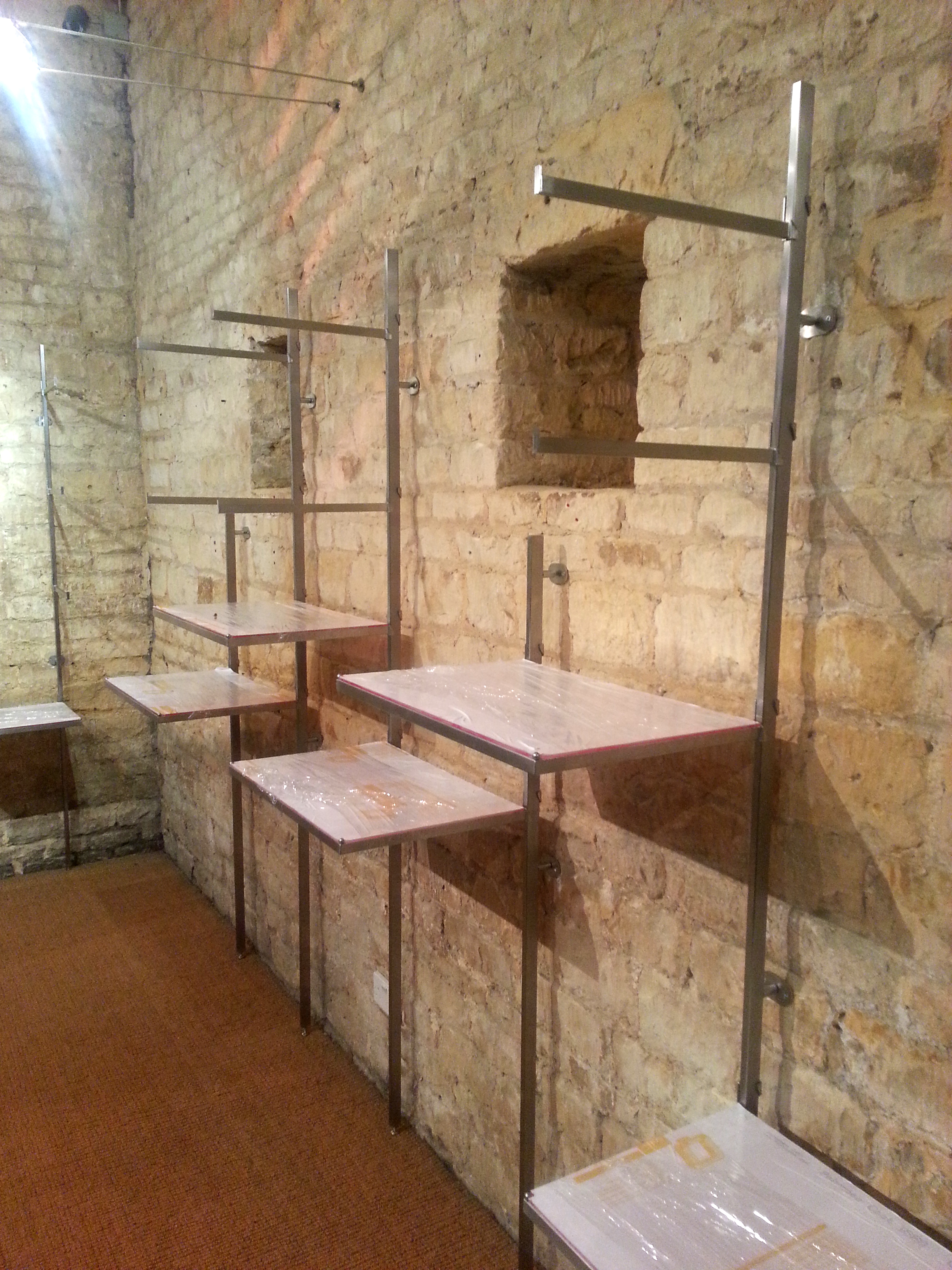 Cotswold stone - wall display fittings in progress